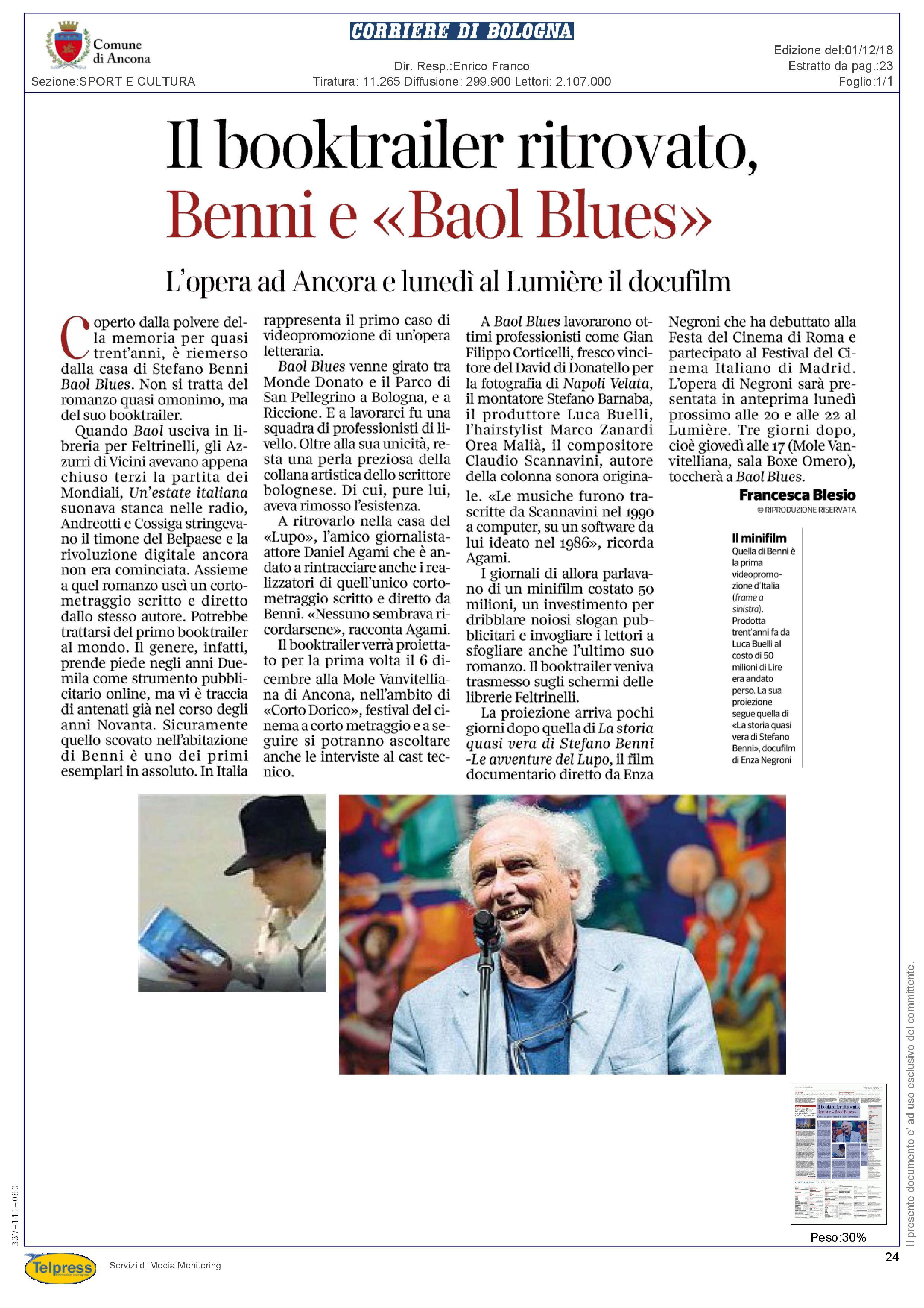 1-12-18 Corriere  della Sera - Bologna