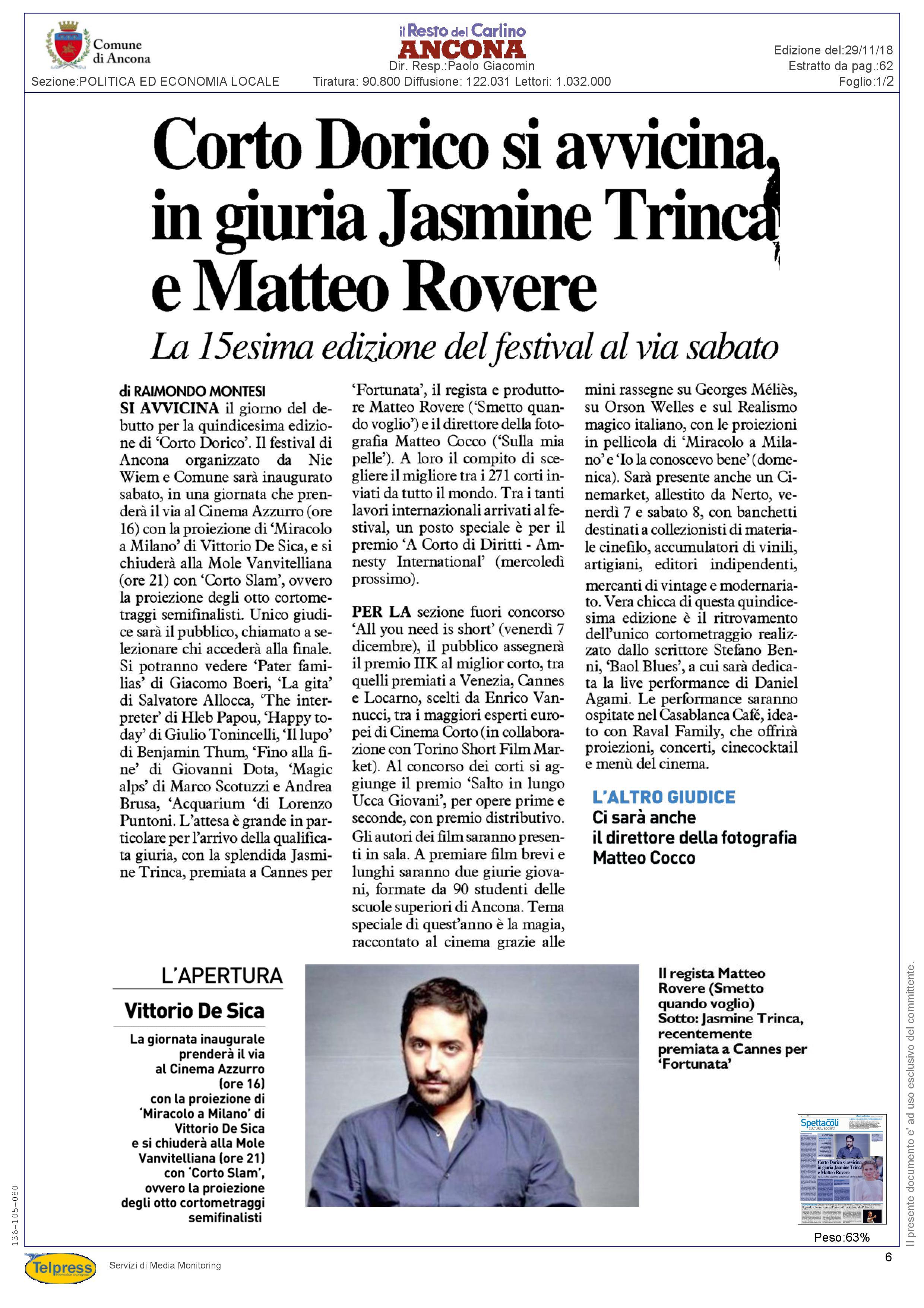 29-11-18 Il Resto del Carilino (Ancona)