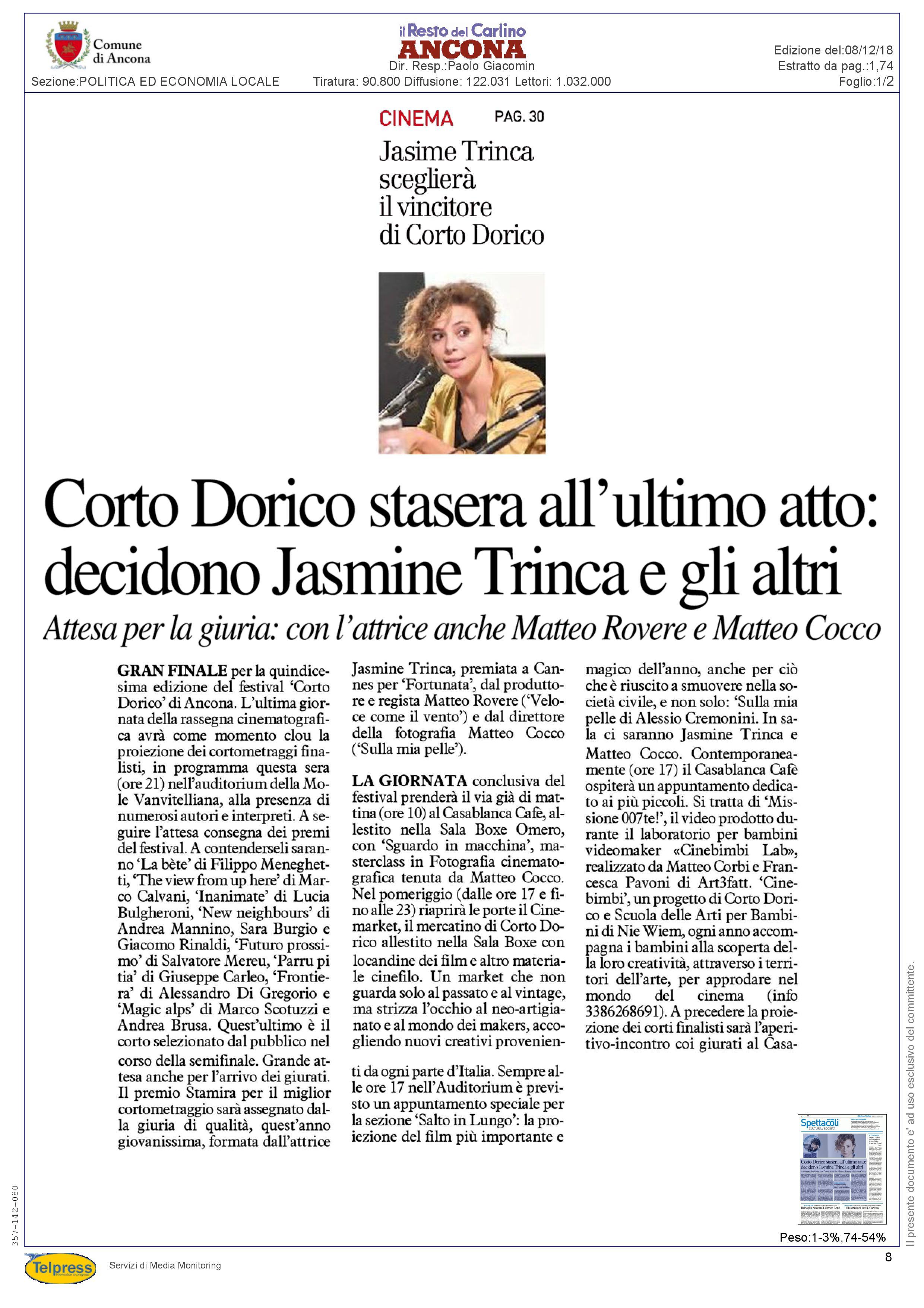 8-12-18 Il Resto del Carlino (Ancona) pag 1